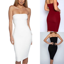 Load image into Gallery viewer, Women Sexy Sleeveless Solid Boob Tube Top Dress Evening Party Stretch Pencil Knee-Length Dresses