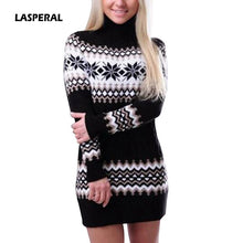 Load image into Gallery viewer, Nesa Fashion New Autumn Winter Sweater Women Long Sleeve Turtleneck Pullover Female Long Patchwork Sweater Dress Drop Shipping