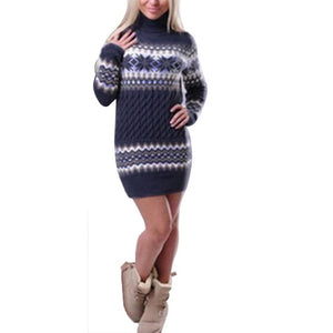 Nesa Fashion New Autumn Winter Sweater Women Long Sleeve Turtleneck Pullover Female Long Patchwork Sweater Dress Drop Shipping