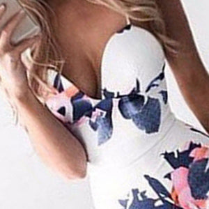 Nesa Fashion Women Bandage Body-con Sleeveless Evening Sexy Party Mini Dress Printed Braces White Dress