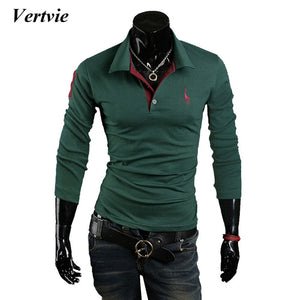 VERTVIE Brand 2018 Fashion Polo shirts Men Deer Embroidery Print Long Sleeve Thin Polo Male tee top casual Jerseys Plus Size 3XL
