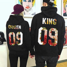 Load image into Gallery viewer, Lovers Hoodies Sweatshirts QUEEN KING 09 Printed Tops Women Men Black Pullover Hooded Long Sleeve Couples Outwear