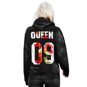 Lovers Hoodies Sweatshirts QUEEN KING 09 Printed Tops Women Men Black Pullover Hooded Long Sleeve Couples Outwear
