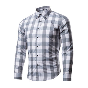 NIBESSER Formal Dress Plaid Men Shirts Business Masculina Shirts Long Sleeve Classic Camisa Shirt Casual Slim Fit Chemise Homme
