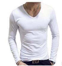 Load image into Gallery viewer, Nesa Fashion 10 Colors Plus Size  Fashion Casual Slim Elastic Soft Solid Long Sleeve Men T Shirts Male Fit Tops
