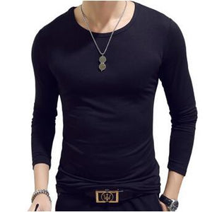 Nesa Fashion 10 Colors Plus Size  Fashion Casual Slim Elastic Soft Solid Long Sleeve Men T Shirts Male Fit Tops