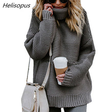 Load image into Gallery viewer, Helisopus 2018 Autumn Winter Women Sweater Solid Color Loose Turtleneck Pullovers Female Long Sleeve Casual Sweaters