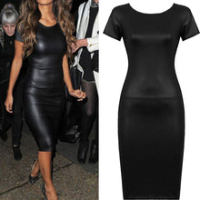 Load image into Gallery viewer, Sexy Sparkly Bandage Bodycon Dresses 2018 Halter Women Short Sleeve Wet Look Faux Leather Bodycon Midi Sheath Sexy Skinny Dress