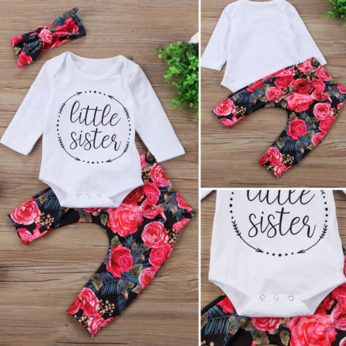 Nesa Fashion Newest  Newborn Baby Girls Tops +Flower Pants+Headband 3Pcs Outfits Set Casual Clothes 0-18M
