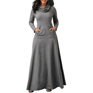 Nesa Fashion Women Warm Dress With Pocket Casual Solid Long Sleeve Vintage Maxi Dress Robe Bow Neck Long Elegant Dress Vestidos Female Body