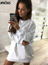 Load image into Gallery viewer, Clearance White Solid Color Winter Shirt Dress Women Casual 2018 Loose Sweatshirt Dresses Gray Short Mini Dress Vestidos