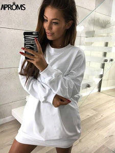 Clearance White Solid Color Winter Shirt Dress Women Casual 2018 Loose Sweatshirt Dresses Gray Short Mini Dress Vestidos