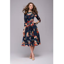 Load image into Gallery viewer, Women casual knee-length dress 2018 new arrival long sleeve printing summer dress for offical lady Women loose vestidos