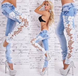 Women Jeans Pencil Denim Skinny Ladies Lace Mid Waist Jeans Hollow Out Casual Women's Denim Pencil Pants Sexy Solid Jeans Pants
