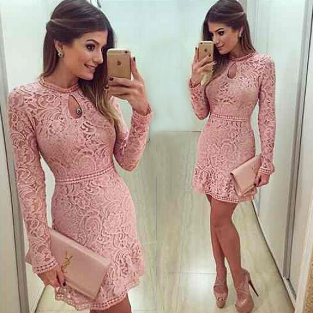 Nesa Fashion New Arrive Vestidos Women Fashion Casual Lace Dress  O-Neck Sleeve Pink Evening Party Dresses