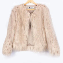 Load image into Gallery viewer, Fluffy faux fur coat women 2016 warm chic female outerwear Black elegant autumn winter jacket coat hairy party overcoat