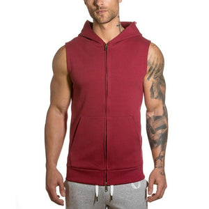 Nesa Fashion Sports Men's Tie Hooded Running Jacket Sleeveless Solid Color Cardigan Sweatshirt Hoody Tops Gym Sport Vest Running Tops