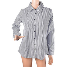 Load image into Gallery viewer, Laamei 2018 New Spring Autumn Women Striped Long Sleeve Shirt Turn-Down Collar Loose Blusas Femme Casual Sexy Tee Plus Size 3XL