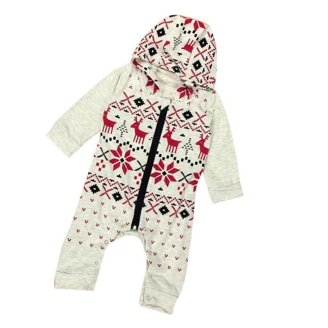 Infant Baby Boy Girl Christmas Deer Clothes Hooded Romper Jumpsuit Outfits Comfortable And Breathable 5.28