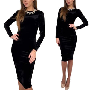 Autumn Winter Women Bodycon Dress Pleuche O Neck Long Sleeve Solid Color Slim Ladies Casual Sexy Dresses FS99