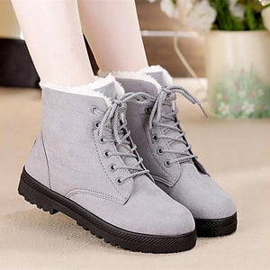 Nesa Fashion Snow boots  classic heels suede women winter boots warm fur plush Insole ankle boots women shoes hot lace-up shoes woman