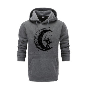 2018 New top quality cotton blend casual digging the moon printed men hoodies autumn black streetwear hooded sweatshirts