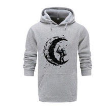 Load image into Gallery viewer, 2018 New top quality cotton blend casual digging the moon printed men hoodies autumn black streetwear hooded sweatshirts