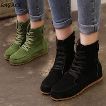 Load image into Gallery viewer, SAGACE Shoes Woman 2018 Flat Ankle Snow Motorcycle Boots Lady Suede Leather Lace-Up Rubber Winter Boots Girls botas  mujer