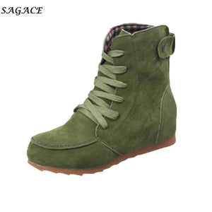 SAGACE Shoes Woman 2018 Flat Ankle Snow Motorcycle Boots Lady Suede Leather Lace-Up Rubber Winter Boots Girls botas  mujer