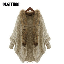 Load image into Gallery viewer, New Fashion 2018 Women Cardigan Batwing Sleeve Faux Fur Collar Coat Loose Casual Warm Cardigan Shawl Sweater Female SW527