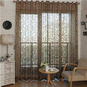French Window Curtain Burnout Flower Embroidered Bedroom Flower Curtains fabric Tulle Sheer Drapes Blinds for Living Room