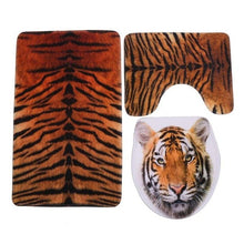 Load image into Gallery viewer, 3pcs Toilet Seat Cover HD Printing Pebble Tiger Toilet Seat Cover and Rug Bathroom Absorbent Toilet Foot Mat Pad