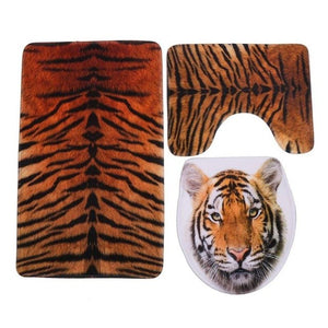 3pcs Toilet Seat Cover HD Printing Pebble Tiger Toilet Seat Cover and Rug Bathroom Absorbent Toilet Foot Mat Pad