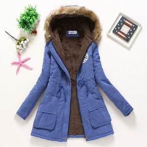 Nesa Fashion Winter Big Fur Collar jacket  fashion plue size hooded coat outerwear Female Thickening Warm Down Jacket ladies slim parka