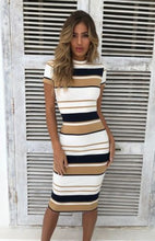 Load image into Gallery viewer, Elegant Women dress  Cap Sleeve striped Ladies Dress Jersey Stretch Bodycon  autumn wear dress Plus Size
