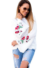 Load image into Gallery viewer, Hirigin New 2018 Women Long Sleeve Loose Embroidery Floral Sweater Knitted  with 3 Colors