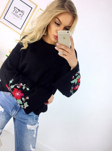 Hirigin New 2018 Women Long Sleeve Loose Embroidery Floral Sweater Knitted  with 3 Colors