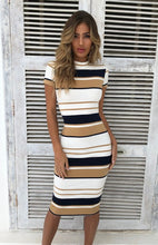 Load image into Gallery viewer, Nesa Fashion Women Summer Stripe Body-con Dress Vestidos Short Sleeve Ladies Knee Length Dress Plain Jersey Stretch Basic Dress