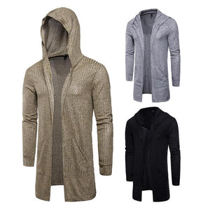 Autumn Mens Cardigan Sweaters Casual long Coat 2018 New fashion Slim hooded Knitted Sweaters Europe and America Sweatercoats