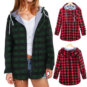 Women's Long Sleeve Plaid Hooded Shirt Ladies Oversized Casual Button Down Loose Fit Jacket S-5XL