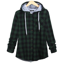 Load image into Gallery viewer, Women's Long Sleeve Plaid Hooded Shirt Ladies Oversized Casual Button Down Loose Fit Jacket S-5XL