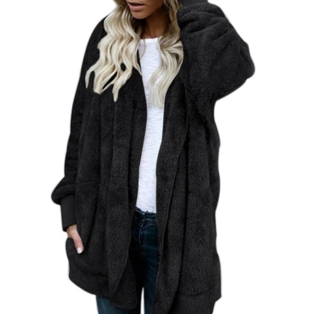 Autumn And Winter Plush Warm Cotton-Padded Clothes Medium Two-Sided Faux Fur Coat
