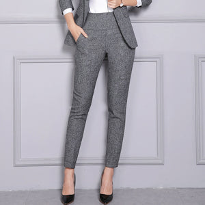 Women's High Waist Plus Size Formal Pants With Pocket Office Lady Straight Trousers Casual 2018 Autumn Fashion Female Pants