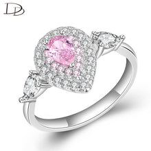 Load image into Gallery viewer, DODO Princess Ring Gorgeous Pink/Yellow/Clean Water Drop Shape Crystal Wedding Rings  Silver 925 Fine Jewelry For Women