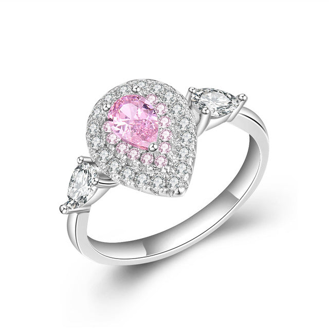 DODO Princess Ring Gorgeous Pink/Yellow/Clean Water Drop Shape Crystal Wedding Rings  Silver 925 Fine Jewelry For Women