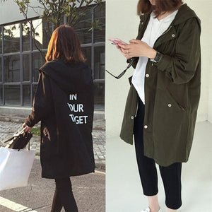 Korean Fashion England Style Spring Autumn Loose Type Jacket Outwear Letter Printed Long Style Female Jacket Coat With Zipper