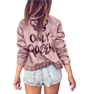 CHAMSGEND 2018 winter Autumn jacket Women Only Queen Print Satin Bomber Long Sleeve Zipper Jacket Coat