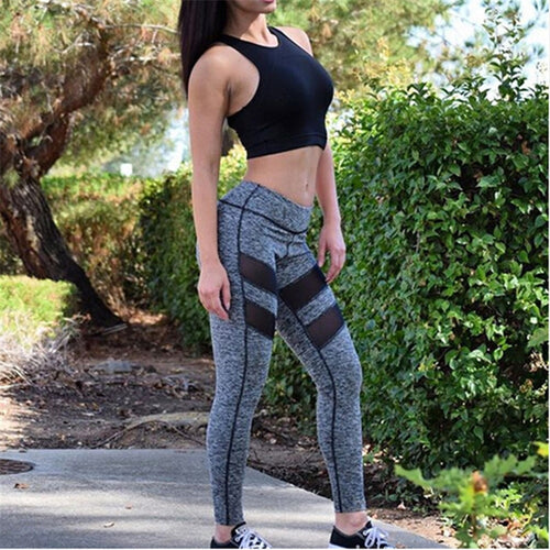New Women Fashion Workout Fitness Leggings Pants Hot Sale Ladies Long Pants Stylish Womens Slim Long Mesh Patchwork Leggings