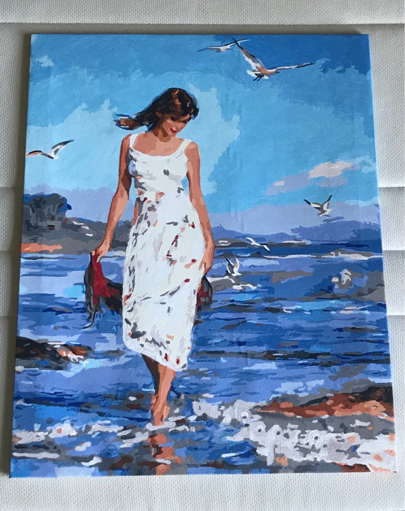 Frameless picture oil painting by numbers wall decor diy painting on canvas for home decor 4050 walking on the beach