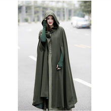 Load image into Gallery viewer, Nesa Fashion Winter Cloak Hooded Coat Women Vintage Gothic Cape Poncho Coat Medieval Victorian Warm Long Cape Trench Coat